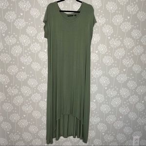 H by Halston Dress Size 1X Green Midi High Low Hem